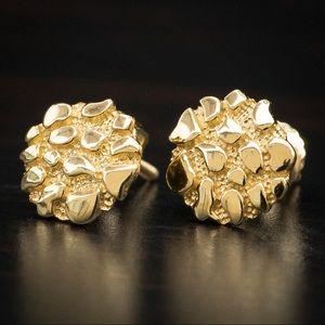 b6bd85264 Men's Gold Vermeil Round Shaped Nugget Earrings